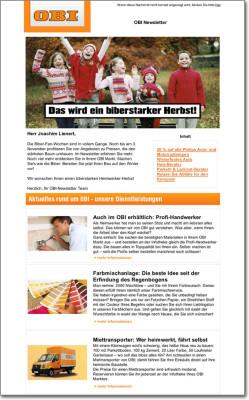 OBI Bau- und Heimwerkermärkte Newsletter